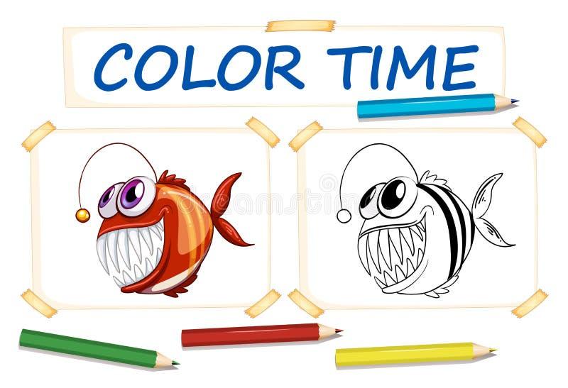 Шаблон расцветки с уродскими рыбами иллюстрация штока