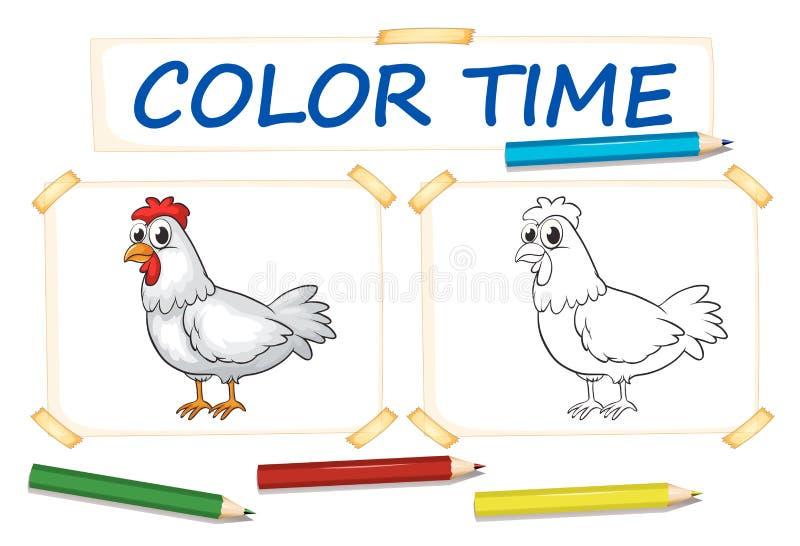 Шаблон расцветки с цыпленком иллюстрация вектора