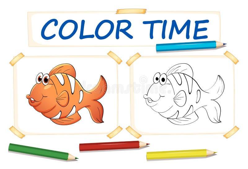 Шаблон расцветки с clownfish иллюстрация штока