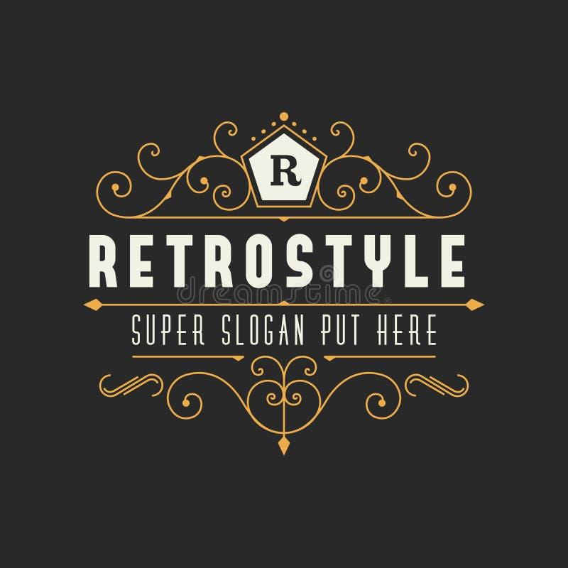 Шаблон ретро винтажного орнаментального логотипа каллиграфический для роскошного ресторана, кафа, дела гостиницы иллюстрация вектора