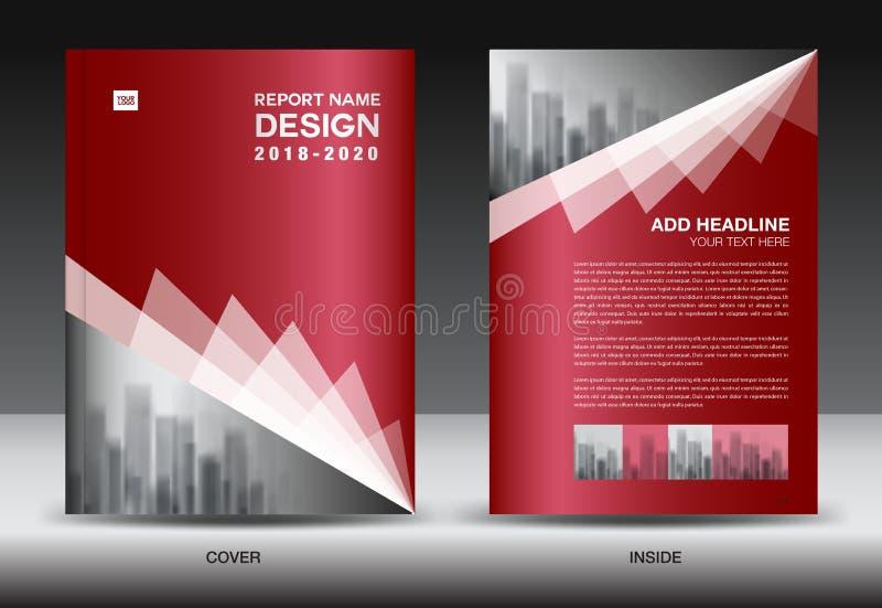 Шаблон рогульки брошюры дела, красный дизайн крышки иллюстрация вектора