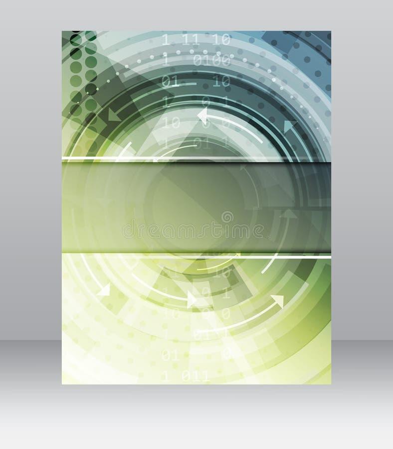 Шаблон рогульки дела, брошюра, дизайн крышки, папка или корпоративное знамя с технологической структурой иллюстрация вектора