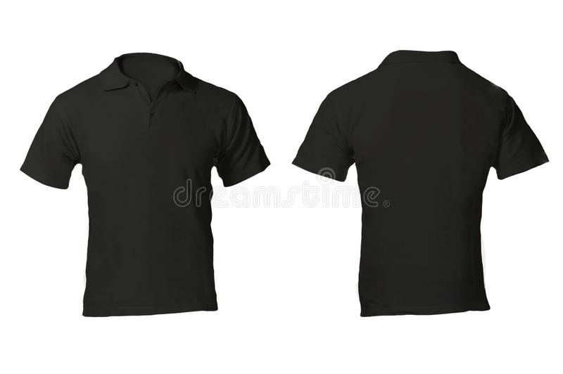 Шаблон рубашки поло людей пустой черный стоковые фотографии rf