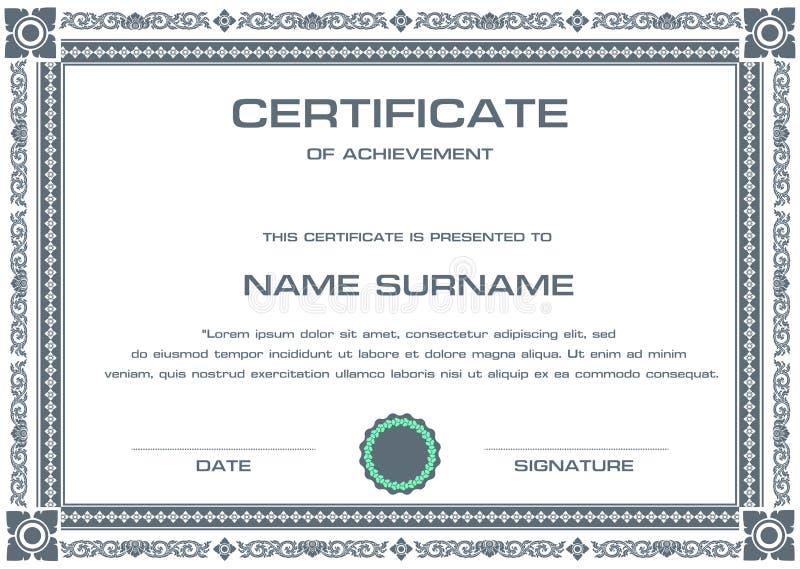 Шаблон сертификата вектора стоковые изображения rf