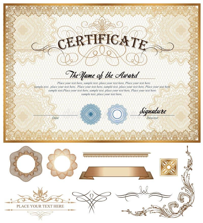 Шаблон сертификата или талона с винтажной границей иллюстрация штока