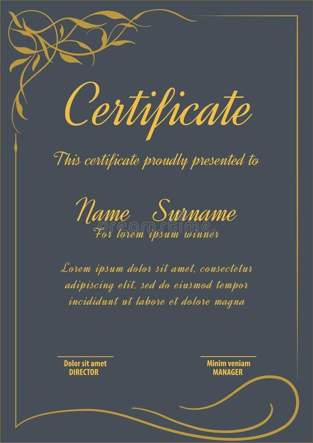 Шаблон сертификата, иллюстрация вектора иллюстрация вектора