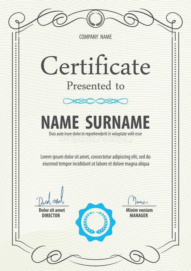 Шаблон сертификата, иллюстрация вектора иллюстрация штока