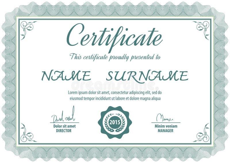Шаблон сертификата, иллюстрация вектора бесплатная иллюстрация