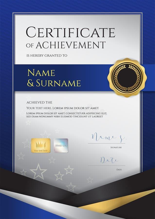Шаблон сертификата портрета роскошный с элегантной рамкой границы, иллюстрация вектора