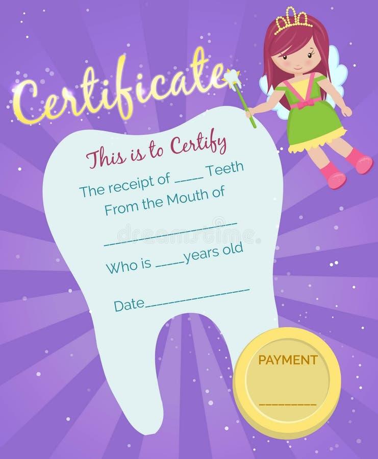 Шаблон сертификата получения феи зуба иллюстрация штока