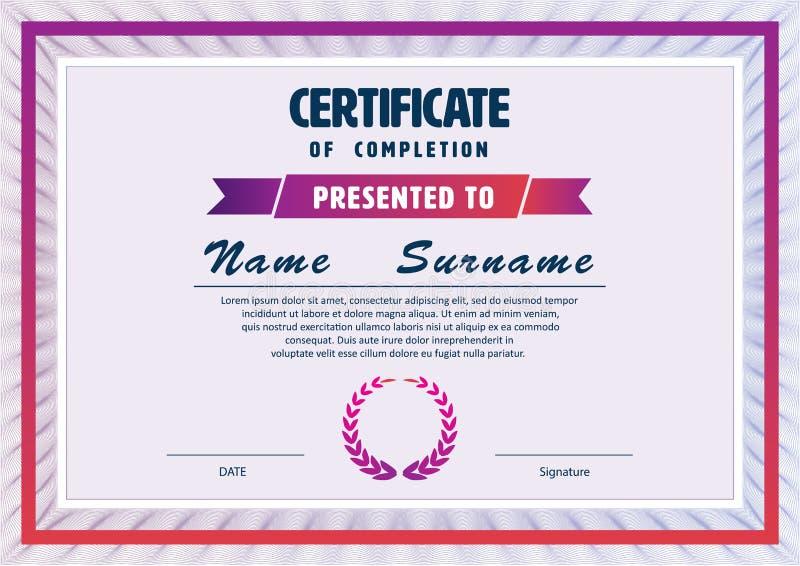 Шаблон сертификата план диплома Иллюстрация вектора изображение   Шаблон сертификата план диплома Иллюстрация вектора изображение 63710526