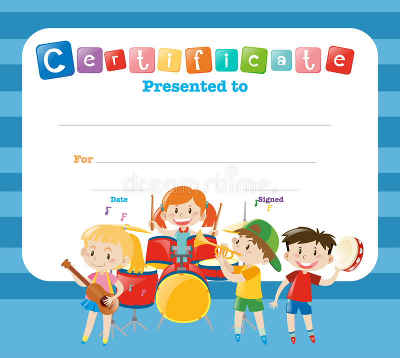 Шаблон сертификата с детьми в диапазоне иллюстрация штока