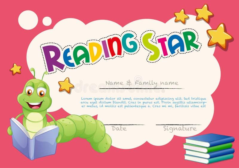 Шаблон сертификата с книгами чтения червя бесплатная иллюстрация