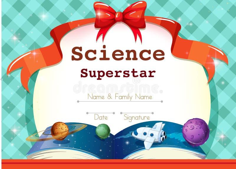 Шаблон сертификата с темой науки иллюстрация штока