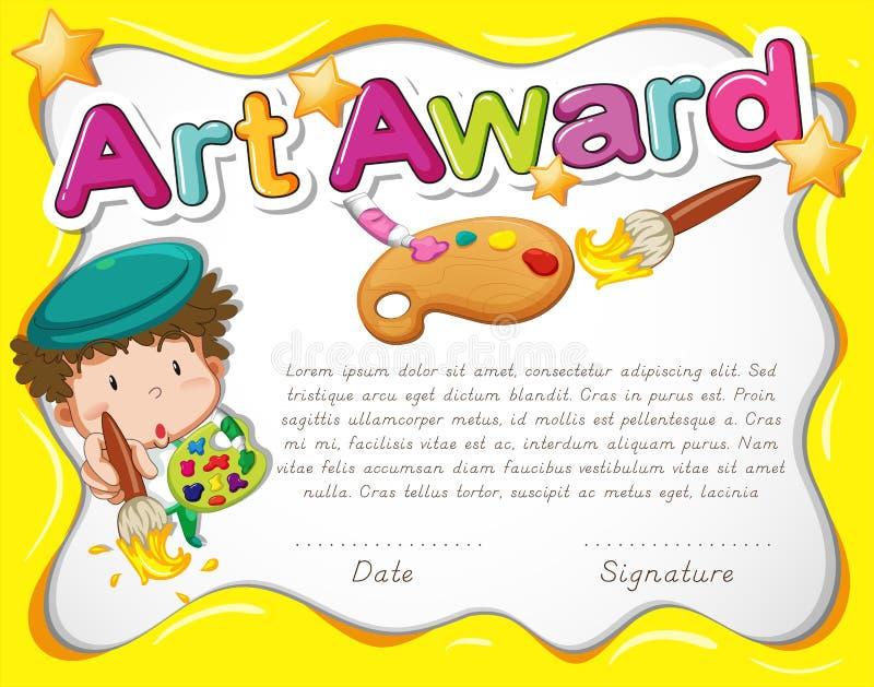 Шаблон сертификата с художником и акварелью иллюстрация штока