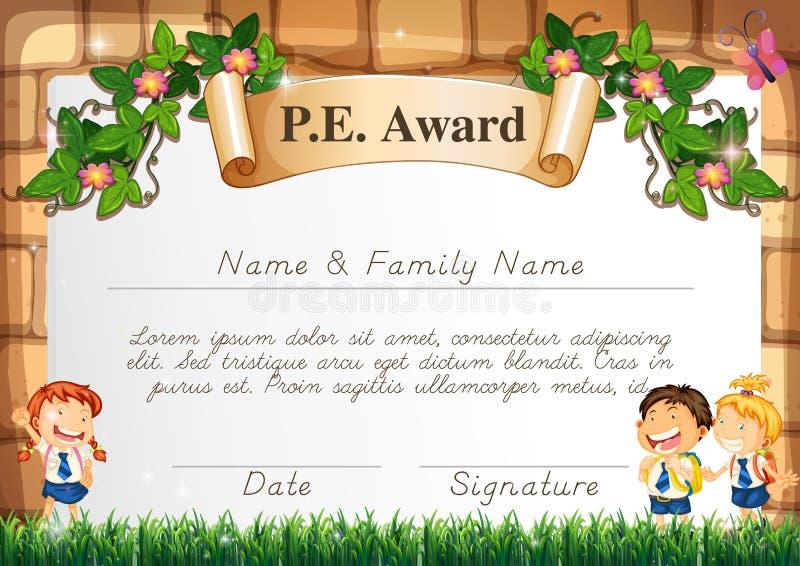 Шаблон сертификата для награды PE иллюстрация штока