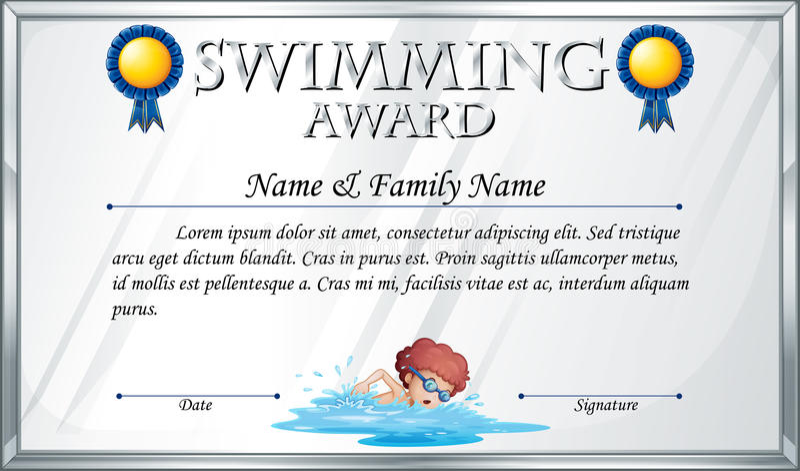 Шаблон сертификата для плавая награды иллюстрация штока