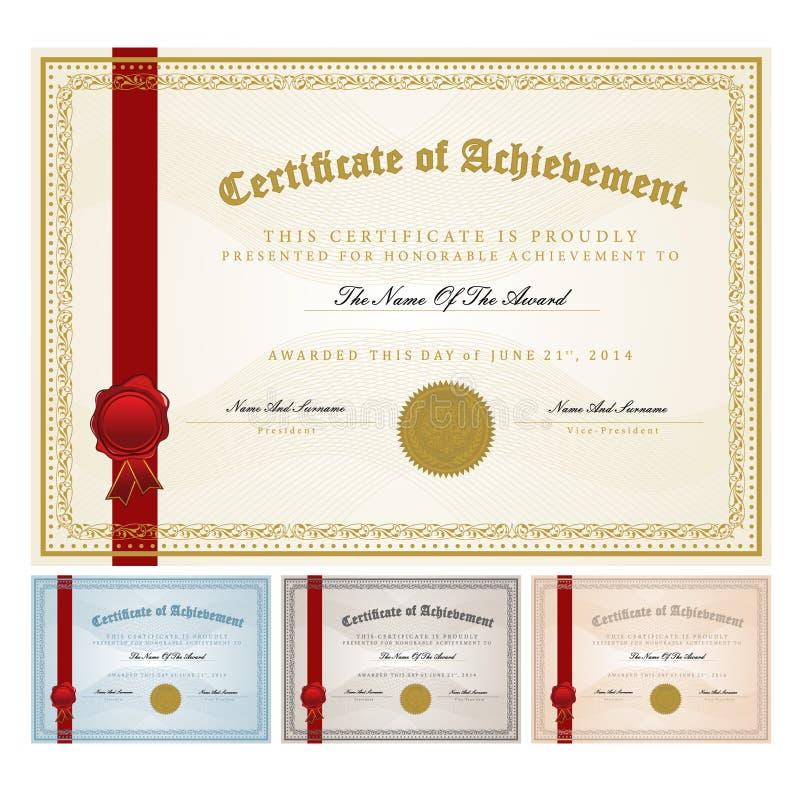 Шаблон сертификата иллюстрация штока