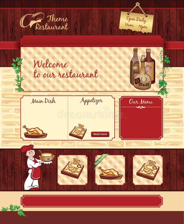 Шаблон сети для ретро ресторана или кафа иллюстрация штока