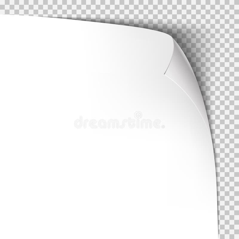 Шаблон скручиваемости угловой бумажный Прозрачная решетка Пустая страница предпосылки иллюстрация вектора