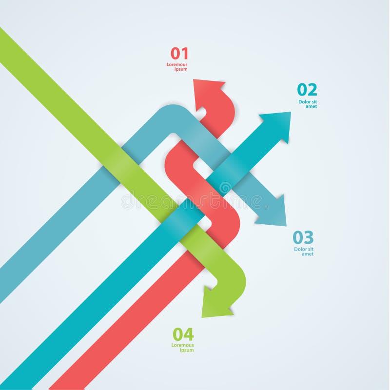 Шаблон современного дизайна вектора. Labyrint стрелки. Абстрактное красочное иллюстрация штока