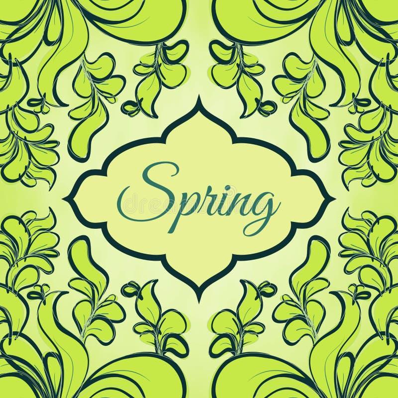 Шаблон с абстрактными зелеными листьями иллюстрация вектора