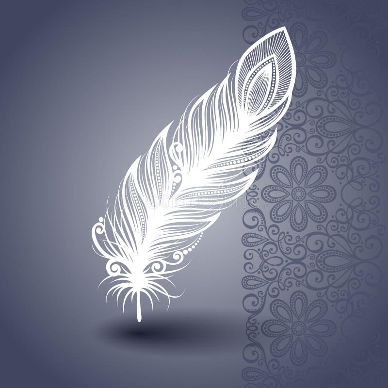 Шаблон с Peerless пером в богато украшенной предпосылке иллюстрация штока