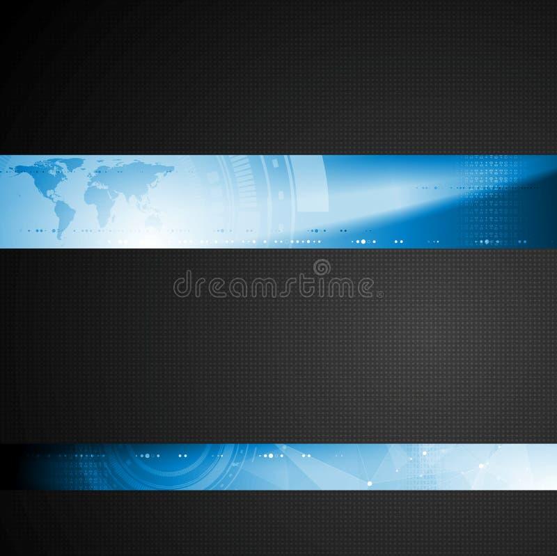 Шаблон техника брошюры с голубыми элементами знамени бесплатная иллюстрация