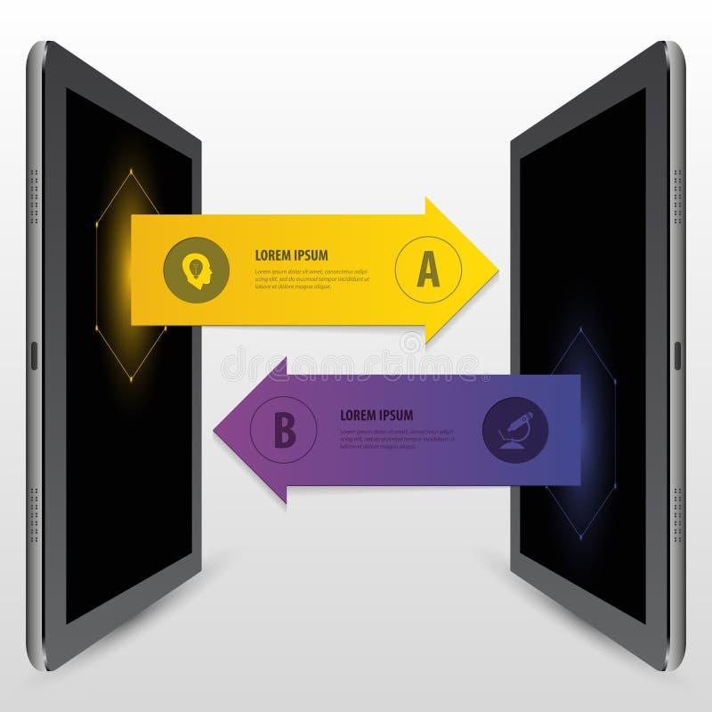 Шаблон техники связи стрелки Infographics также вектор иллюстрации притяжки corel бесплатная иллюстрация
