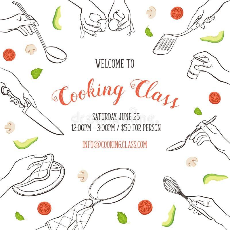 Шаблон урока кулинарии иллюстрация штока