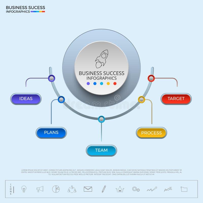 Шаблон успешного круга концепции дела infographic бесплатная иллюстрация
