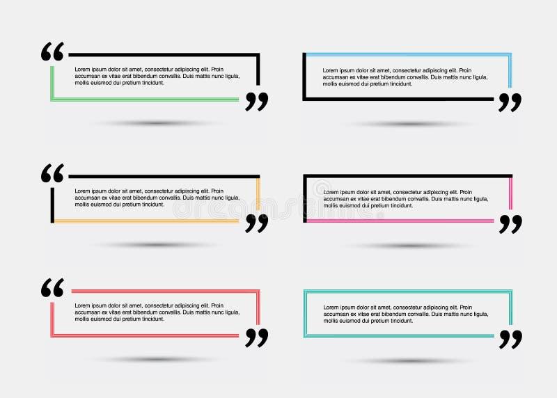 Шаблон цитаты пустой иллюстрация вектора
