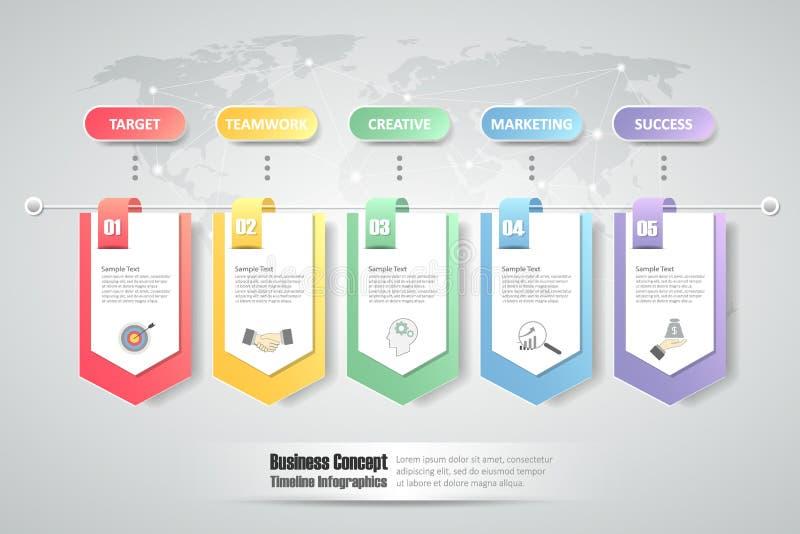 шаблон 5 шагов infographic смогите быть использовано для плана потока операций, диаграммы иллюстрация штока