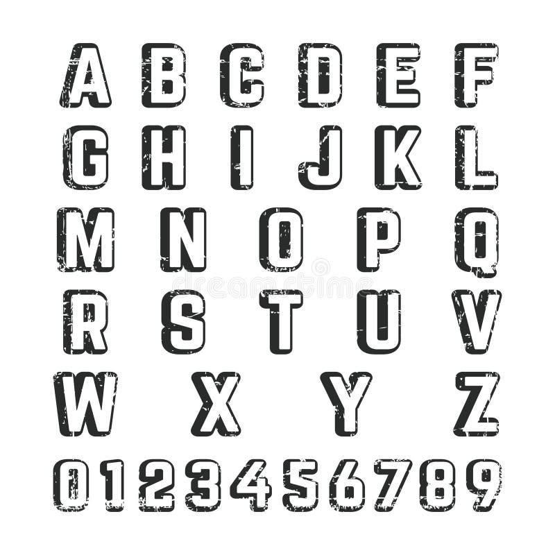 Шаблон шрифта алфавита иллюстрация вектора