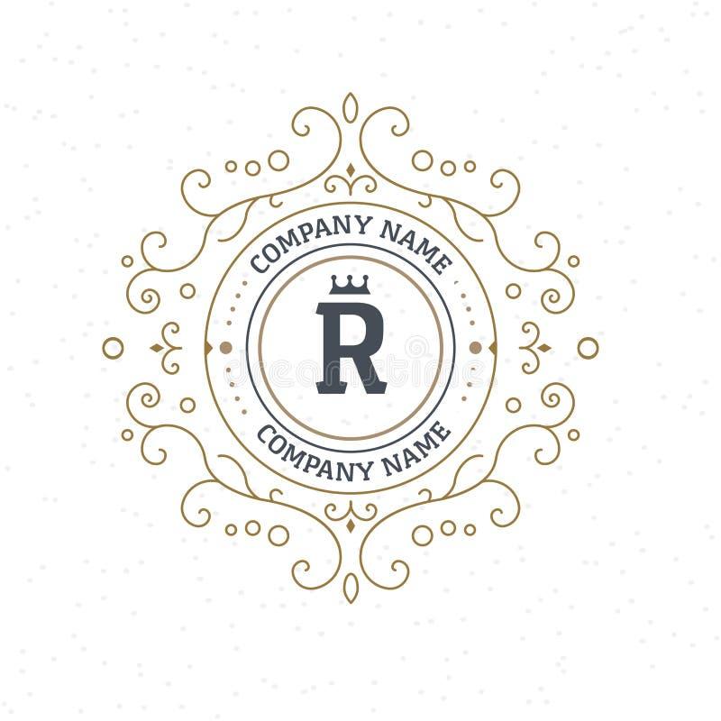Шаблон элементов дизайна вензеля Insignia или логотип письма винтажные Каллиграфический дизайн lineart удерживание руки фокуса ви бесплатная иллюстрация