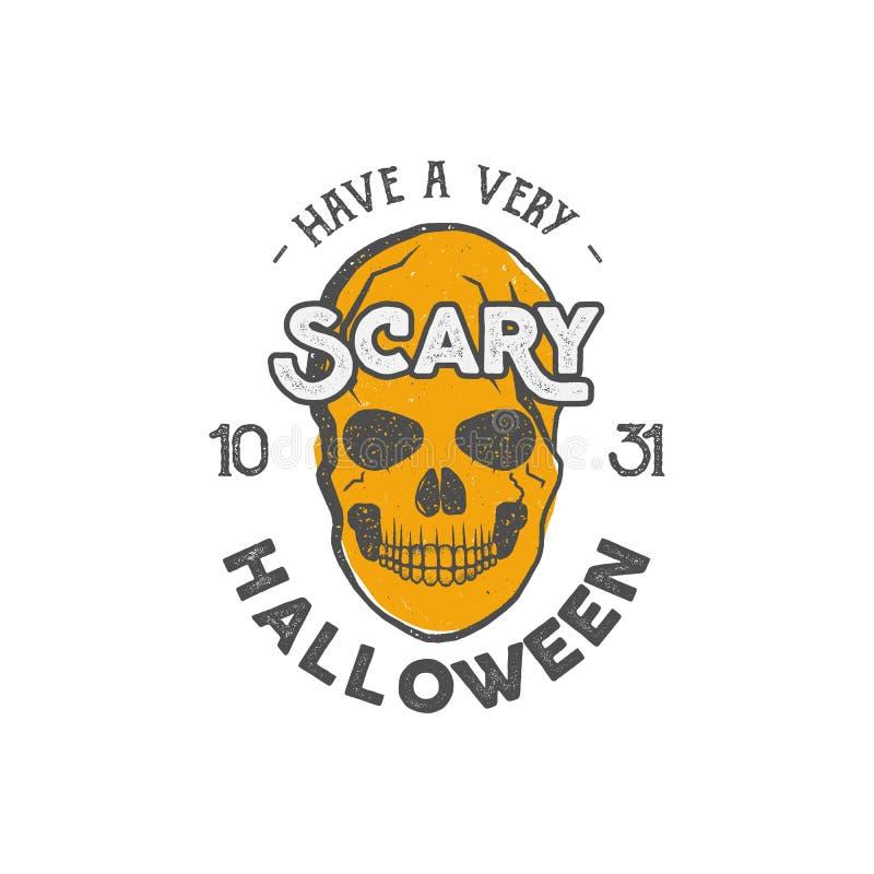 Шаблон ярлыка партии хеллоуина с элементами черепа и оформления Текст иллюстрации вектора запаса с ретро grunge бесплатная иллюстрация