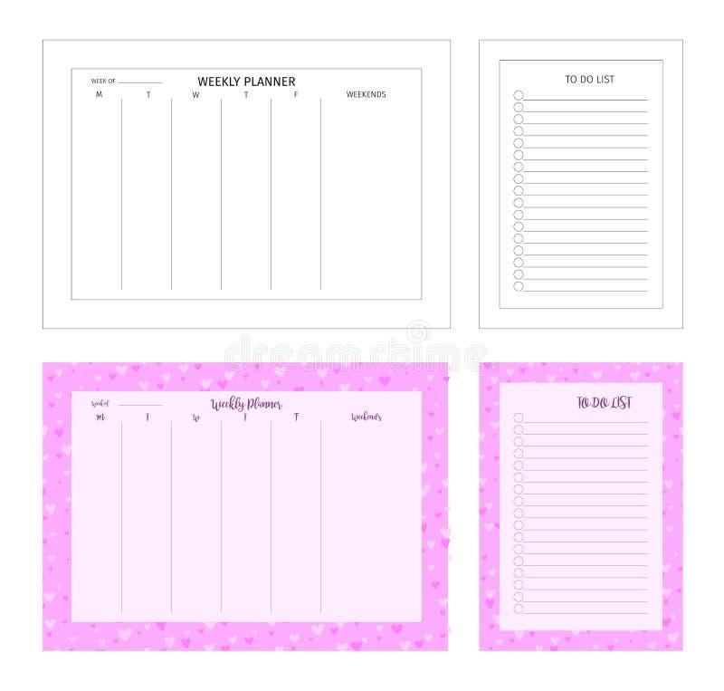 Шаблон для печати Еженедельный плановик и сделать список сделал по образцу рамку, границу иллюстрация вектора