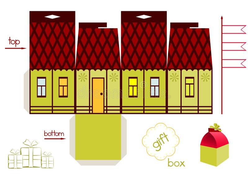 Шаблон для подарочной коробки дома сказки иллюстрация штока