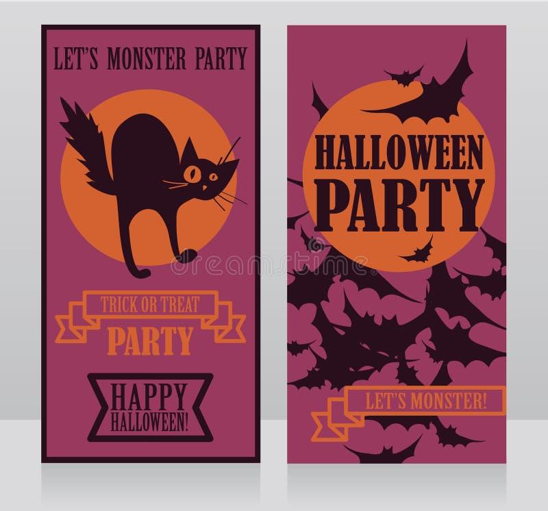 Шаблон для приглашений партии хеллоуина с котом и летучими мышами традиционного стиля шаржа черным бесплатная иллюстрация