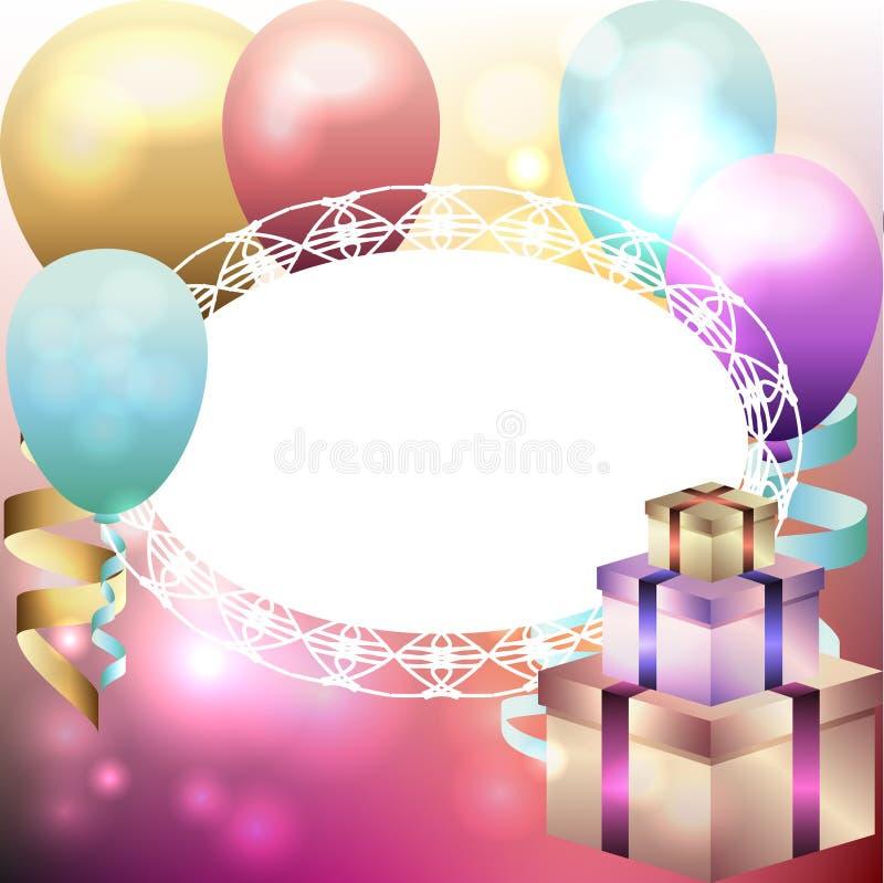 Шаблон для приглашения, поздравительой открытки ко дню рождения с белой рамкой, воздушным шаром стоковое фото