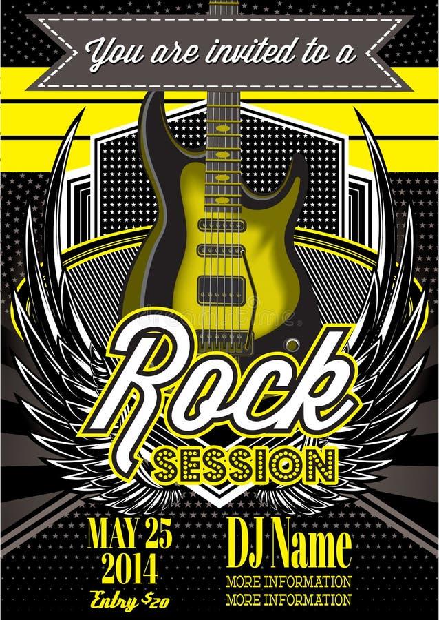 Шаблон для рок-концерта с гитарой бесплатная иллюстрация