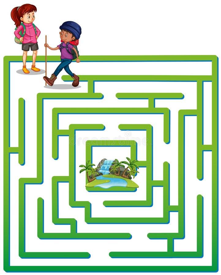Шаблон Boardgame с туристами и водопадом иллюстрация штока