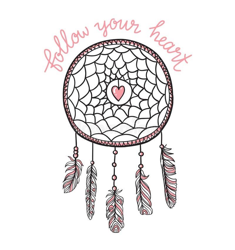 Шаблон Boho с вдохновляющей литерностью цитаты - ` следовать вашим ` сердца Вектор, этнический, дизайн печати с dreamcatcher иллюстрация штока