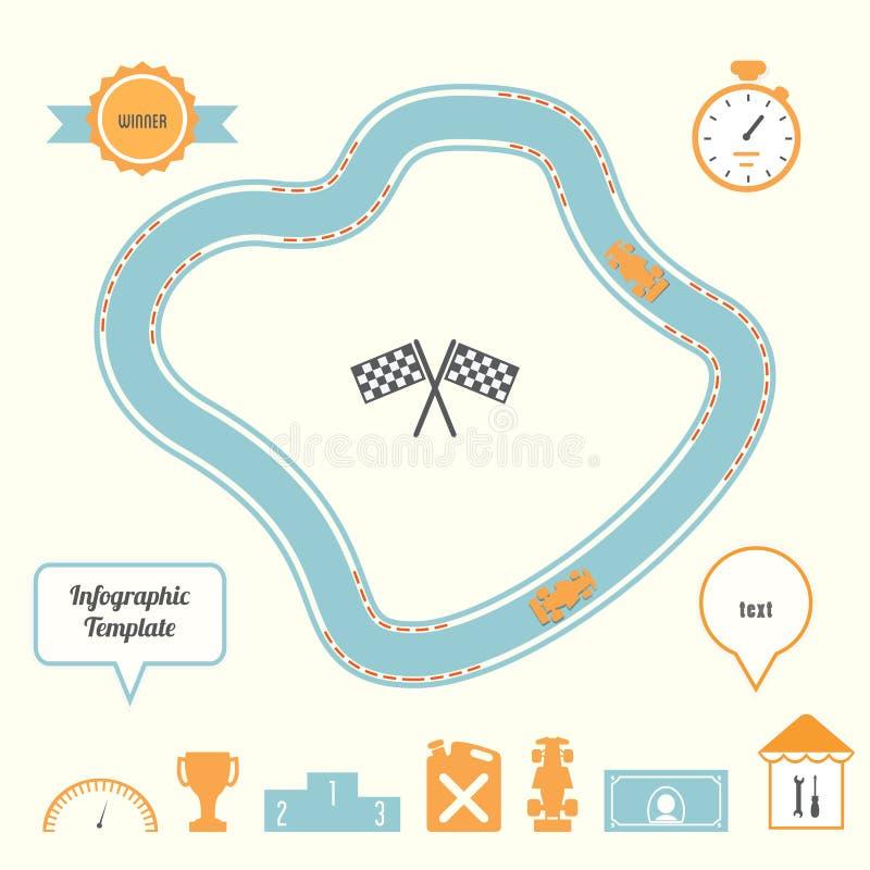 Шаблон Infographic гоночного трека и автомобилей бесплатная иллюстрация