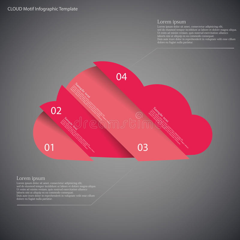 Шаблон Infographic при облако разделенное до 4 части на темноте иллюстрация штока