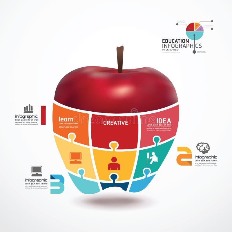 Шаблон Infographic с знаменем зигзага яблока иллюстрация штока