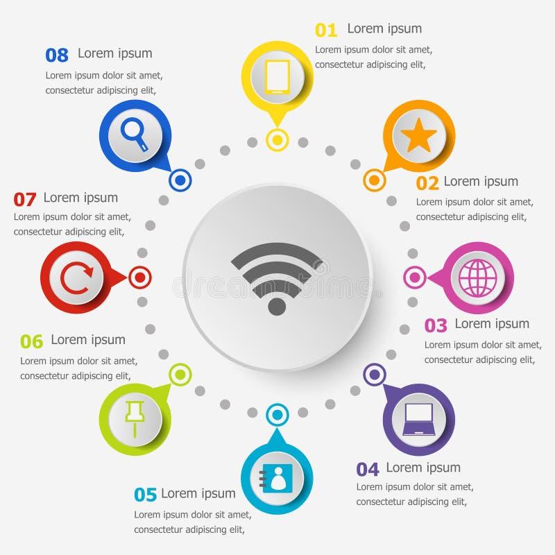 Шаблон Infographic с значками интернета бесплатная иллюстрация