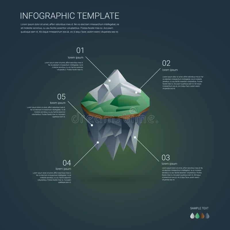 Шаблон infographics дела Низкий поли плавать иллюстрация штока