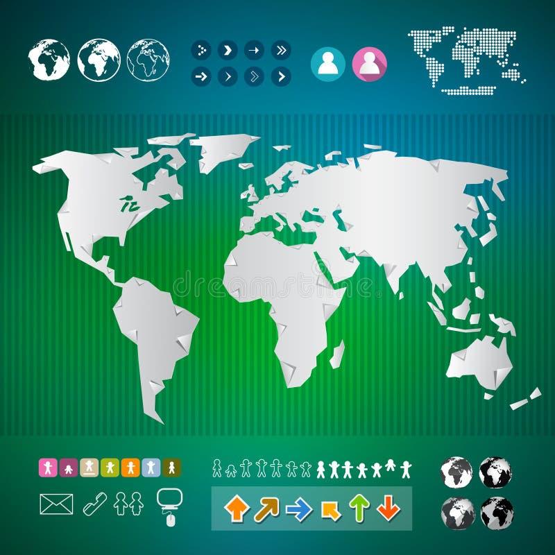 Шаблон Infographics карты мира иллюстрация вектора