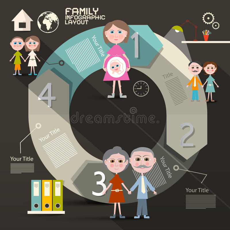 Шаблон Infographics круга бумажный ретро иллюстрация штока